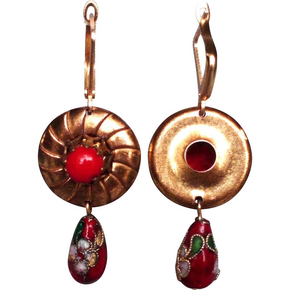 Gold plated disc earrings red centerpiece cloisonne drop