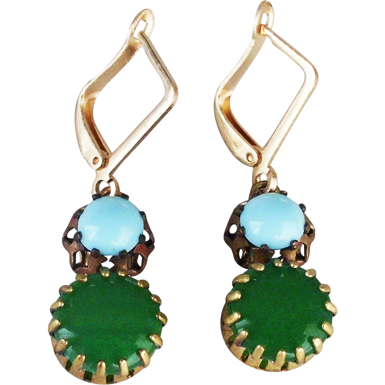 Gusty earrings green turquoise glass cabochons gold plated earwire