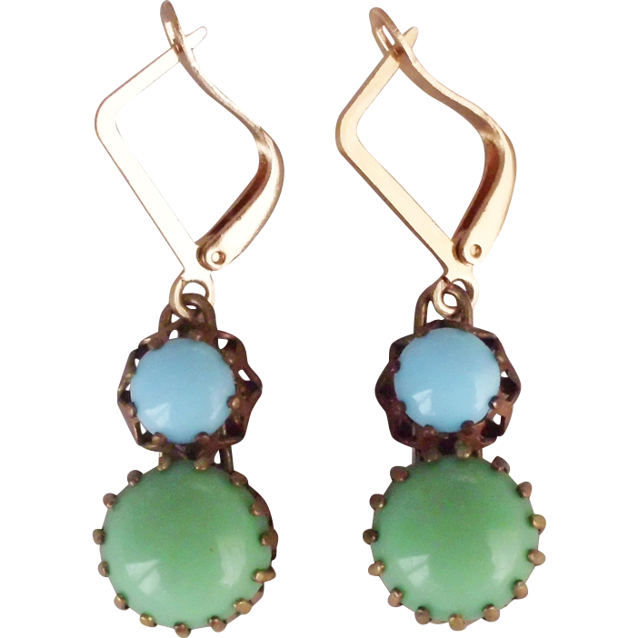 Green blue glass cabochon earrings gold plated earwire fashion jewelry