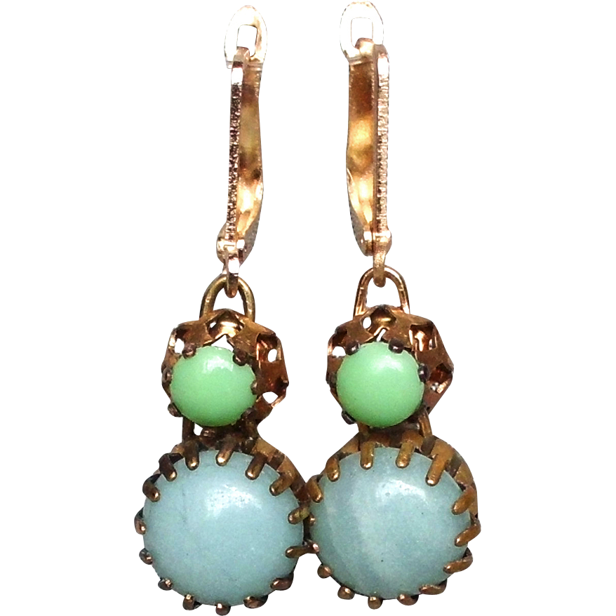Green turquoise cabochon earrings brass bezel gold plated ear wire