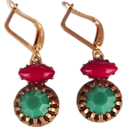 Green red cabochon earrings brass bezel gold plated earwire