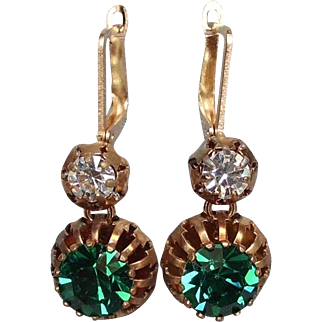 Emerald green Swarovski cabochon spider bezel earrings gold plated ear wire