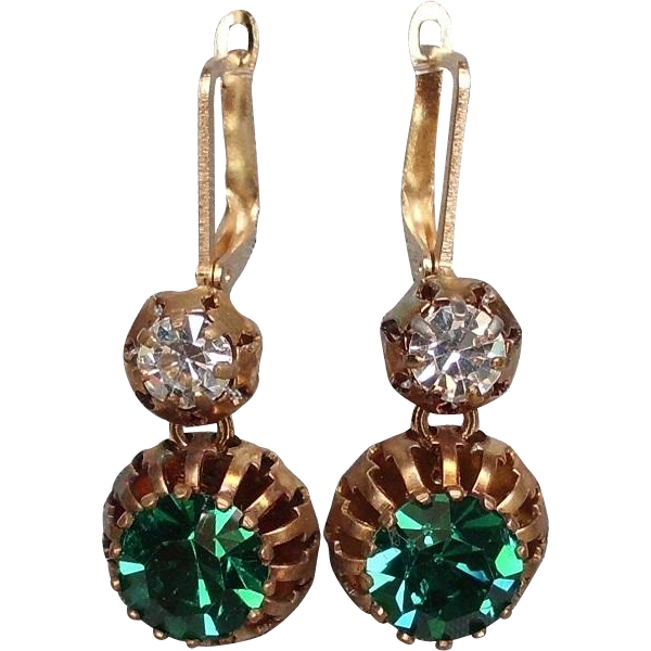 Emerald green Swarovski cabochon spider bezel earrings gold plated ear wire