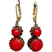 Red cabochons spider bezel earrings gold plated earwire