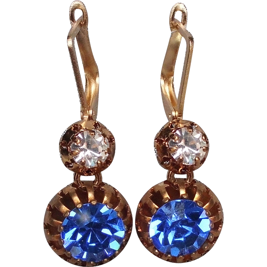 Royal blue Swarovski cabochon spider bezel earrings gold plated ear wire