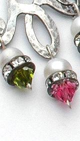 Sterling silver earrings pink green violet Swarovski crystals.