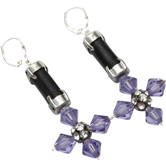 Violet Swarovski Austrian Crystal leather cross earrings statement  jewelry design