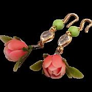 Designer earrings vintage pink flower green crystal gold plated ear wire