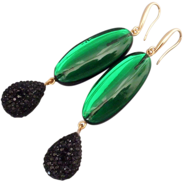 Aurora green black plastic earrings design gold plated ear wire