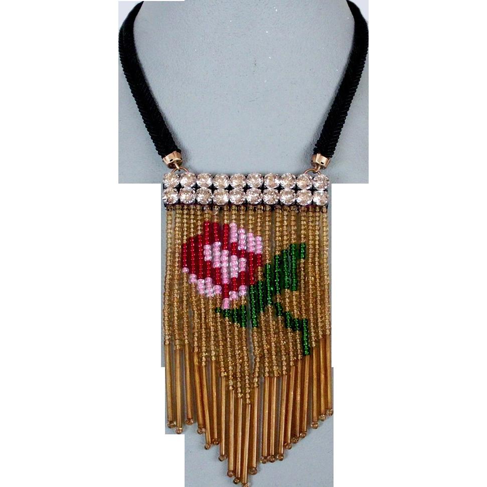 Couture bib necklace antique beaded fringes Swarovski silver foil pendant design
