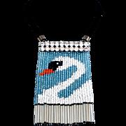 Couture bib necklace Venetian beaded fringes Swarovski silver foil pendant design