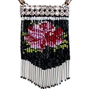 Tasseled bib necklace beaded fringe Swarovski silver foil rhinestones pendant design