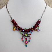 Costume crystal pendant on velvet choker. High end necklace design