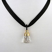 Designer jewelry. Contemporary necklace design for all occasions. Upscale crystal pendant with leather.