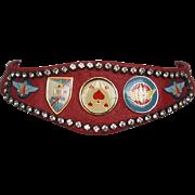 Couture red leather necklace Swarovski rhinestones emblems statement jewelry