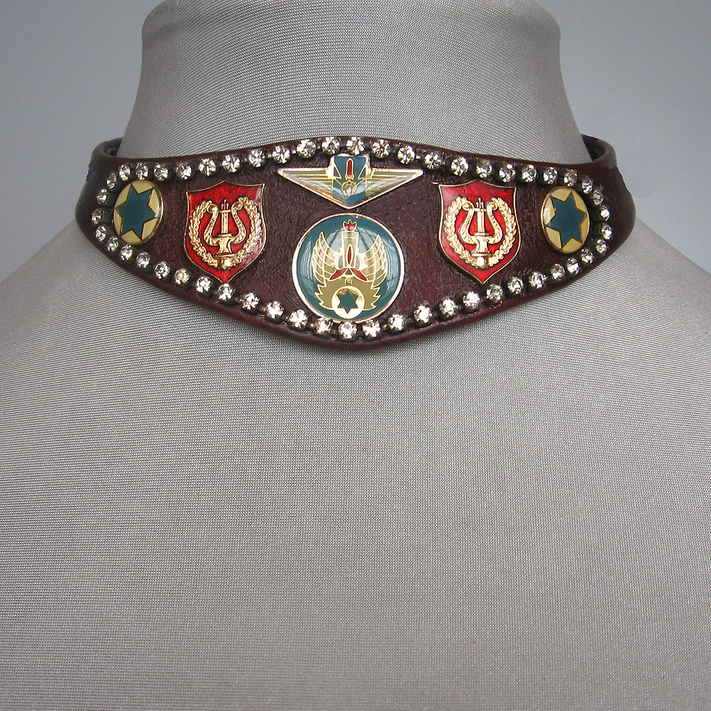 Burgundy leather choker Swarovski crystals emblems fashion  jewelry
