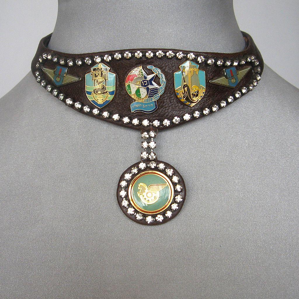 Easy Rider rhinestones emblems leather choker designer jewelry