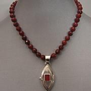 Carnelian beads sterling silver locket box upscale jewelry