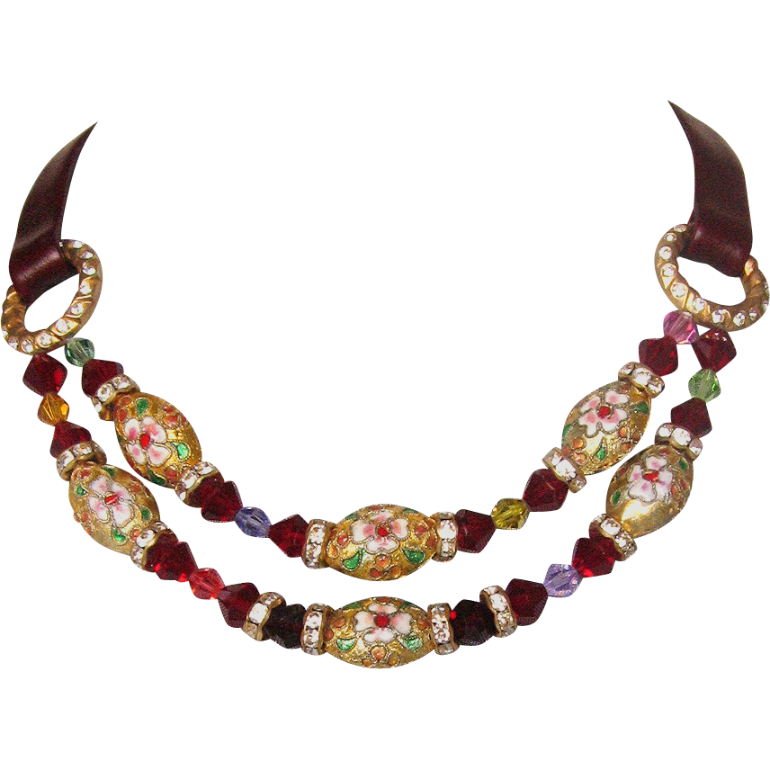 Cloisonne enamel leather choker  red Swarovski gold plated jewelry