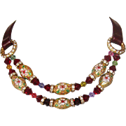 Enamel beads  Swarovski crystals 24K gold plated silver on leather choker necklace
