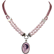 Feminine image cameo silver pendant freshwater pearls leather handmade necklace