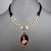Portrait cameo silver pendant  pearls  leather artisan  necklace