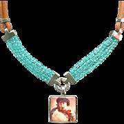 Romantic image cameo silver pendant leather Czech beads contemporary necklace design