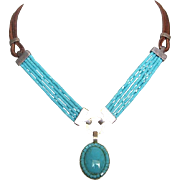 Cheyenne inspired turquoise silver pendant glass beads leather necklace designer jewelry.