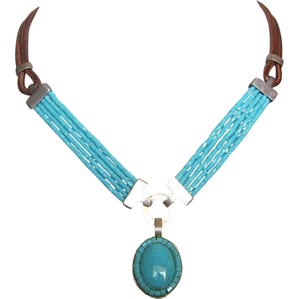 Cheyenne inspired turquoise silver pendant glass beads leather