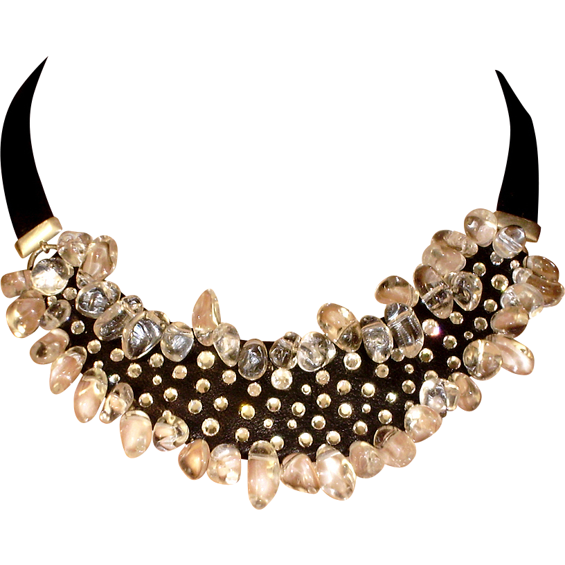 Black leather necklace icy quartz stones Swarovski rhinestones bold jewelry design