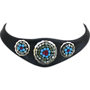 Bold leather necklace choker silver rings Czech beads contemporary jewelry design.