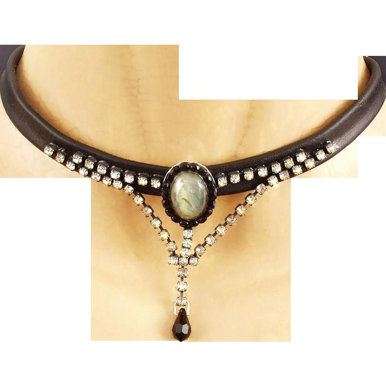 Couture leather choker silver pendant labradorite cabochon Swarovski rhinestones Czech crystal drop