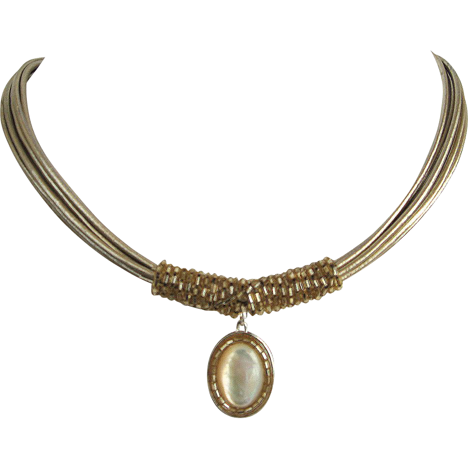 Gold tone leather necklace mother of pearl silver pendant delica beads contemporary jewelry