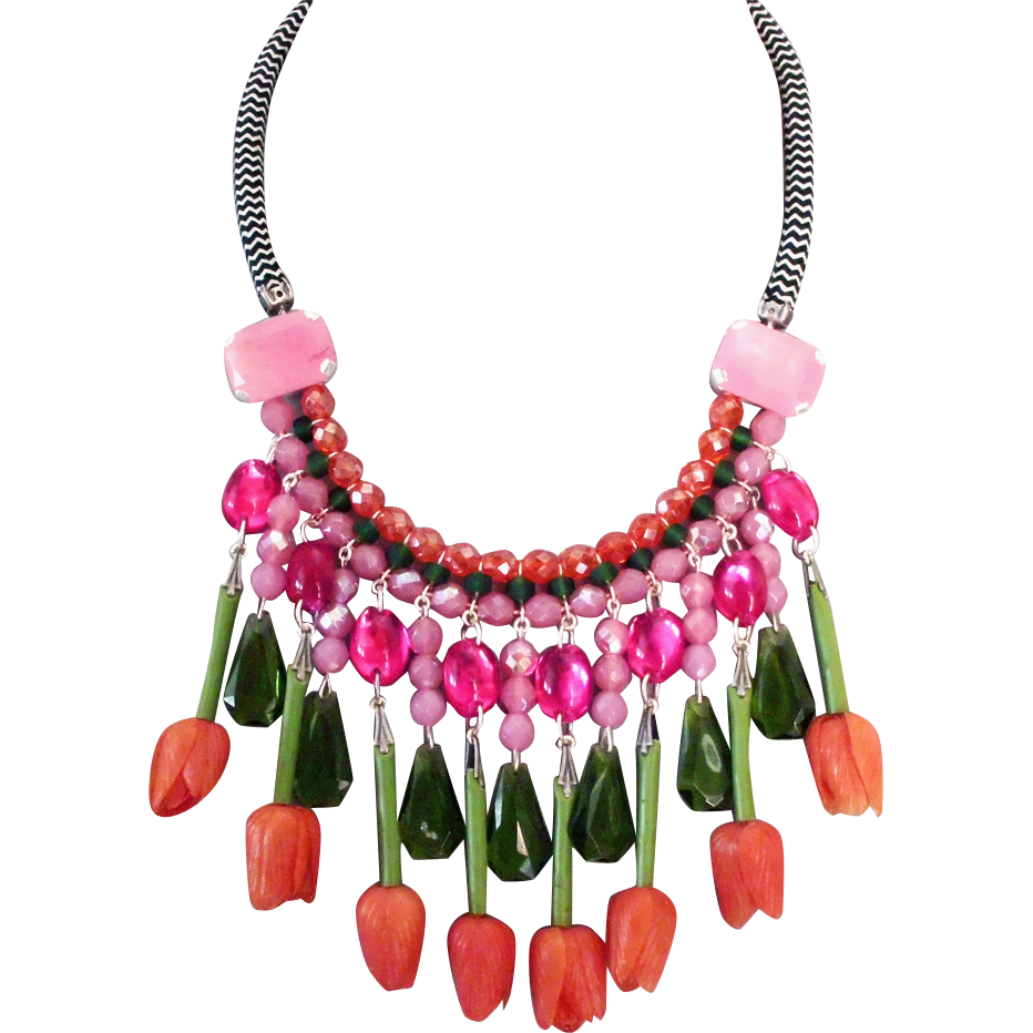 Orange vintage flowers green pink olive beads collar necklace designer jewelry