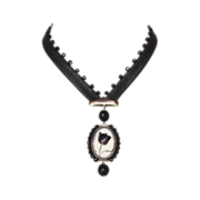Black tulip cameo silver oval pendant leather necklace.