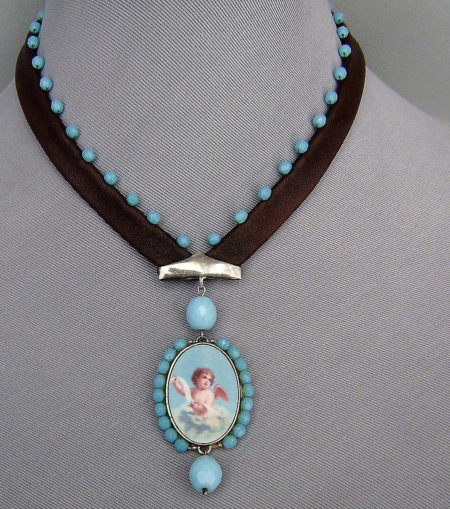 Designer jewelry Romantic contemporary necklace Cameo silver