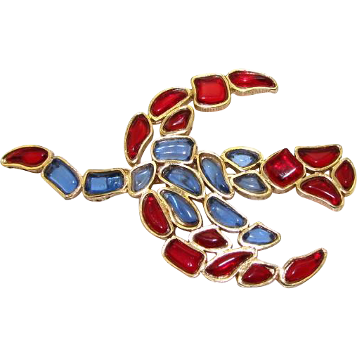 RARE Vintage French Poured Glass Marvella Flying Bird Pin