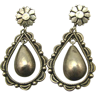 Unusual Fred Harvey 1930s Navajo Coin Silver Drop Earrings