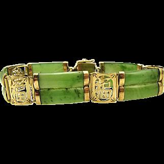 Vintage 10k Yellow Gold & Green Jade Good Luck Bracelet