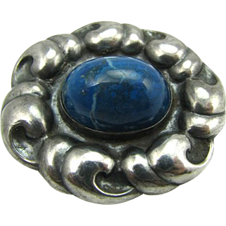 Extremely Rare Antique 1890s Marius Hammer 830S Silver Sodalite Gem Pin