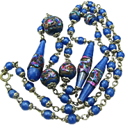 Art Deco Venetian Foil Beads Art Glass Necklace