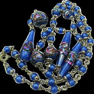 Art Deco Venetian Foil Beads Art Glass Necklace