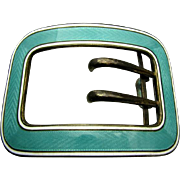 Huge 68.3 Grams Sterling Antique Aqua Enamel Sash Buckle