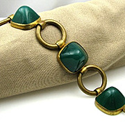 Large True Art Deco HIGH Domed Green Jadeite Glass & Brass Germany Bracelet