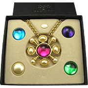 Mint KJL Kenneth Lane Jeweled Interchangeable Necklace / Pin Combo
