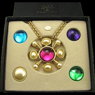 Mint KJL Kenneth Lane Jeweled Interchangeable Necklace / Pin Combo