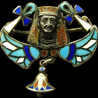 Antique 800 Silver Enamel Egyptian Revival 1920's Pin