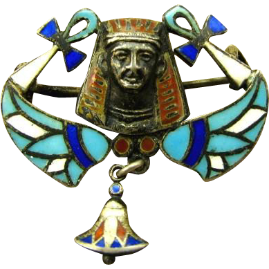 Antique 800 Silver Enamel Egyptian Revival 1920's Pin
