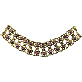Antique Art Nouveau Sterling Jeweled Dog Collar Necklace