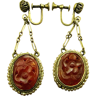 Art Deco 1920's Chinese Carved Carnelian Earrings